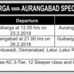SPECIAL TRAINS:GULBARGA-AURANGABAD-GULBARGA