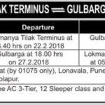 SPECIAL TRAINS:LTT-GULBARGA-LTT