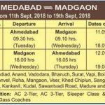 Ganpati Festival Special Trains 2018 : Ahmedabad – Madgaon – Ahmedabad