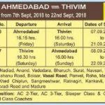 Ganpati Festival Special Trains 2018 : Ahmedabad – Thivim – Ahmedabad