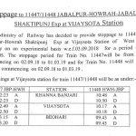 JBP-HWH Shaktipunj Exp (Train No.11447/Train No.11448) Experimental Stoppage at Vijaysota Station