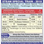 Northern Railway Steam Special Train between Garhi Harsaru – Farukhnagar